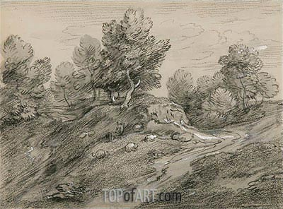 Wooded Upland Landscape with Shepherd and Sheep and Country Track Winding around a Knoll, c.1785 | Gainsborough | Painting Reproduction