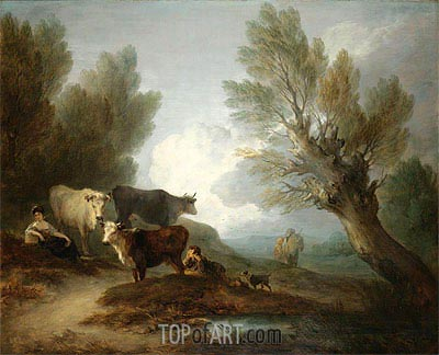 Landscape With Cattle, a Young Man Courting a Milkmaid, Undated | Gainsborough | Painting Reproduction