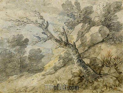 Landscape with Rocks and Tree Stump, Undated | Gainsborough | Painting Reproduction