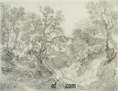 Wooded Landscape, Undated | Gainsborough | Painting Reproduction