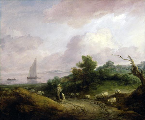 Coastal Landscape with a Shepherd and His Flock, c.1783/84 | Gainsborough | Painting Reproduction
