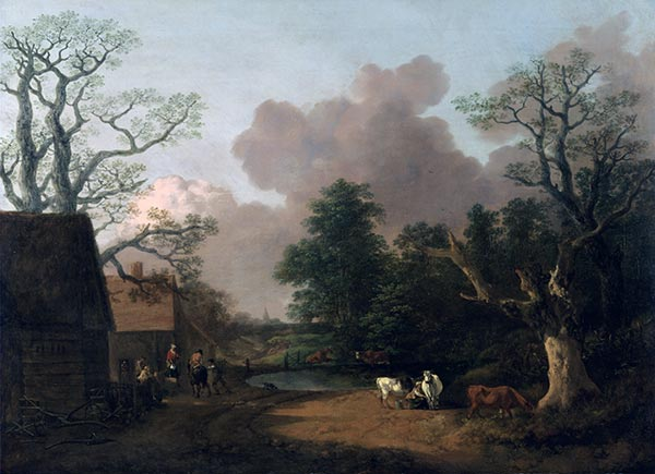 Landscape with Milkmaid, c.1754/56 | Gainsborough | Painting Reproduction