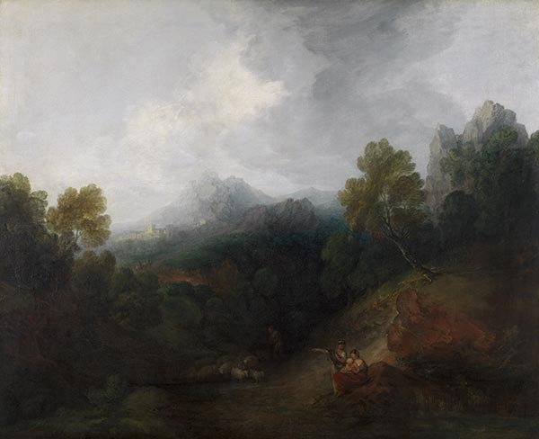 Mountain Valley with Figures and Distant Village, c.1773/77 | Gainsborough | Painting Reproduction
