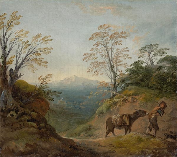 Wooded Landscape with a Boy Leading a Donkey, c.1760/1765 | Gainsborough | Painting Reproduction