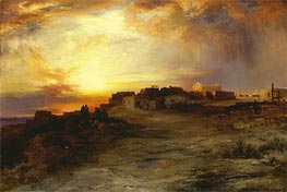 Pueblo at Sunset (Laguna), 1901 by Thomas Moran | Painting Reproduction