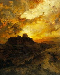 Sunset, Pueblo del Wape, Arizona | Thomas Moran | Gemälde Reproduktion