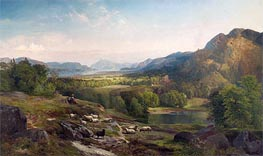 Shepherdess Watching Her Flock | Thomas Moran | Painting Reproduction