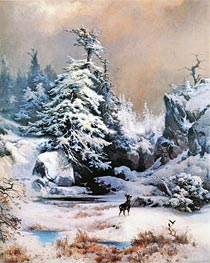 Winter in the Rockies | Thomas Moran | Gemälde Reproduktion