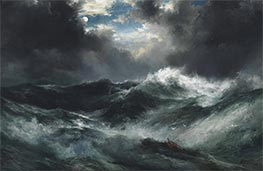 Moonlit Shipwreck At Sea | Thomas Moran | Painting Reproduction