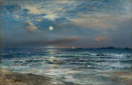Moonlight Seascape | Thomas Moran | Painting Reproduction