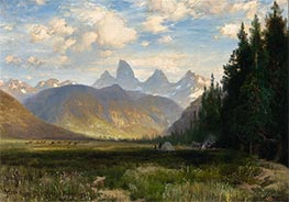 The Three Tetons, 1881 by Thomas Moran | Painting Reproduction