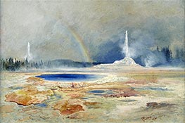 The Castle Geyser, Fire Hole Basin, a.1873 by Thomas Moran | Painting Reproduction