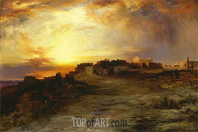 Pueblo at Sunset (Laguna), 1901 | Thomas Moran | Gemälde Reproduktion
