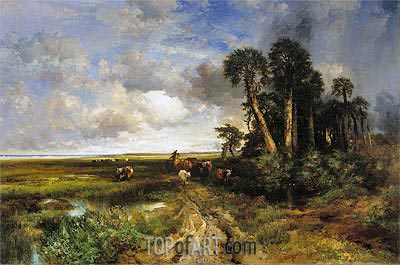 Bringing Home the Cattle - Coast of Florida, 1879 | Thomas Moran | Painting Reproduction