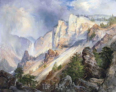 A Passing Shower in the Yellowstone Canyon, 1903 | Thomas Moran | Gemälde Reproduktion