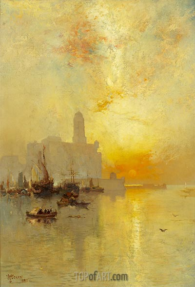 Venetian Seaport, Vera Cruz, 1885 | Thomas Moran | Painting Reproduction