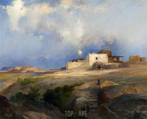 Laguna Pueblo, 1919 | Thomas Moran | Painting Reproduction