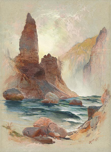 Tower at Tower Falls, Yellowstone, 1872 | Thomas Moran | Painting Reproduction