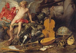 Amor Triumphant among Emblems of Art, Science and War, c.1645/50 by Thomas Willeboirts Bosschaert | Painting Reproduction
