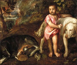 Boy with Dogs in a Landscape | Titian | Painting Reproduction