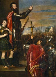 The Marquis of Vasto Addressing his Troops, c.1540/41  by Titian | Painting Reproduction