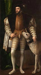 Emperor Carlos V with a Dog, 1533 by Titian | Painting Reproduction