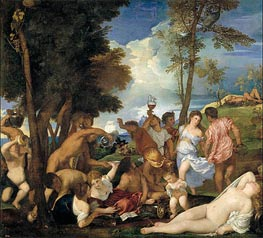 Bacchanal on Andros, c.1523/26 by Titian | Painting Reproduction