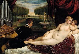 Venus with the Organist and Cupid, c.1555 by Titian | Painting Reproduction