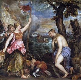 Religion Saved by Spain, c.1572/75 by Titian | Painting Reproduction