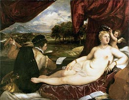 Venus and Cupid with a Lute Player, c.1555/65 von Titian | Gemälde-Reproduktion