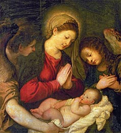 Madonna and Child with Two Angels, undated by Titian | Painting Reproduction
