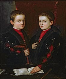 Portrait of Gerolamo Melchiorre and his Brother Francesco Santo da Pesaro, c.1544 by Titian | Painting Reproduction