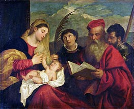 Madonna and Child with SS. Stephen, Jerome and Maurice, Undated by Titian | Painting Reproduction