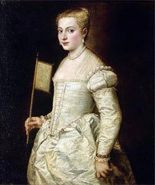 Portrait of a Lady in White, undated by Titian | Painting Reproduction