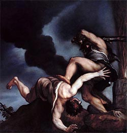 Cain taunting Abel, Undated by Titian | Painting Reproduction