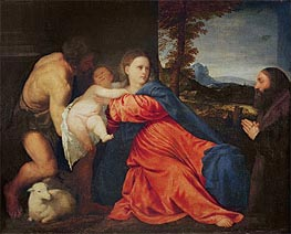 Virgin and Infant with Saint John the Baptist and Donor | Titian | Painting Reproduction
