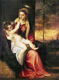 Virgin with Child at Sunset, 1560 by Titian | Painting Reproduction