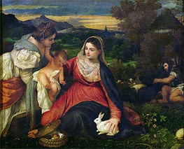Madonna and Child with St. Catherine (The Virgin of the Rabbit), c.1530 by Titian | Painting Reproduction