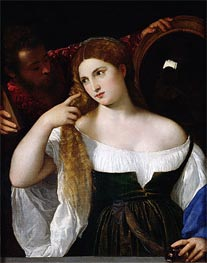 Woman with a Mirror, c.1512/15 by Titian | Painting Reproduction