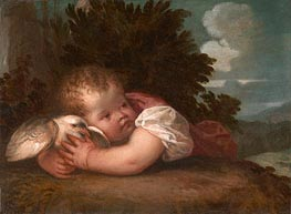 A Boy with a Bird, c.1520/30 by Titian   Painting Reproduction