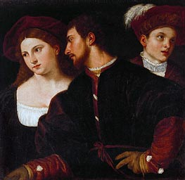 Self Portrait with Friends, undated by Titian | Painting Reproduction