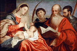 Saint Mary with Child and Saints Stephen, Jerome and Maurice | Titian | Painting Reproduction
