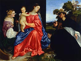 Sacra Conversazione (Virgin and Child with Saints Catherine and Dominic), c.1512/14 by Titian | Painting Reproduction