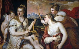 Venus Blindfolding Cupid, c.1565 by Titian | Painting Reproduction