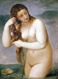 Venus Rising from the Sea (Venus Anadyomene), 1520 by Titian | Painting Reproduction