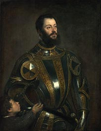 Portrait of Alfonso d'Avalos, Marchese del Vasto, in Armor with a Page, 1533 by Titian | Painting Reproduction