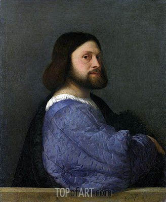 A Man with a Quilted Sleeve (Ariosto), c.1510/12 | Titian | Painting Reproduction