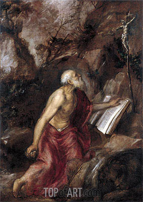 Saint Jerome in the Wilderness, c.1575 | Titian | Painting Reproduction