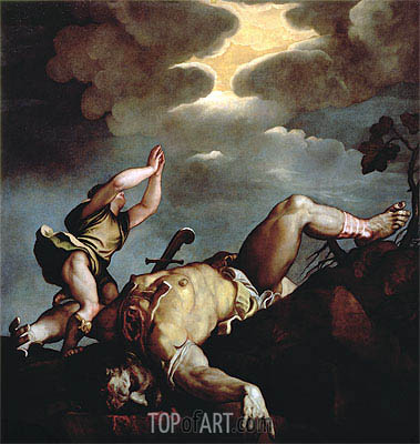 David's Victory over Goliath, Undated | Titian | Painting Reproduction