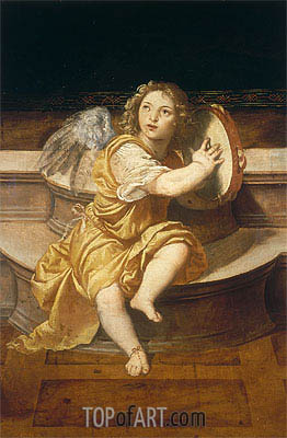 Angel with Tambourine, Undated | Titian | Painting Reproduction